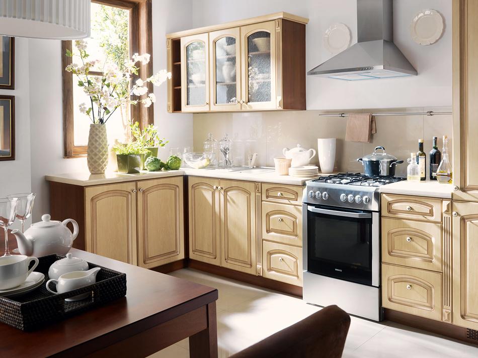 Jak urządzić piękną i wygodną kuchnię?  Kuchnia -> Kuchnia Drewniana Elite Krem Patyna